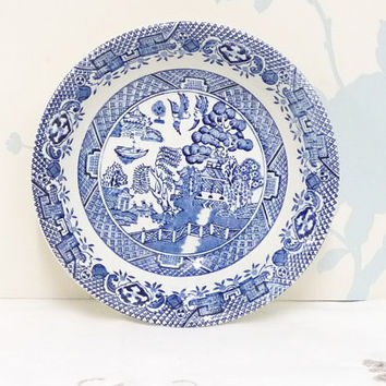Willow Pattern Small Bowl or Dish, Blue and White, Barretts of Staffordshire,  Ironstone, Made in England, Transferware, English Ceramics