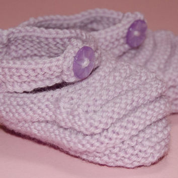 Pink baby booties - Pure Wool - Knitted Baby Shoes - Lilac Baby Handknit - Newborn Gift - Baby Knitwear - Baby Clothes - Baby Girl