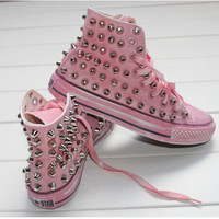 New style super fashion high top sneakers pink rivets canvas shoes retro sneakers