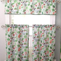 Vegetable Garden 3 Piece Kitchen Curtain Window Set