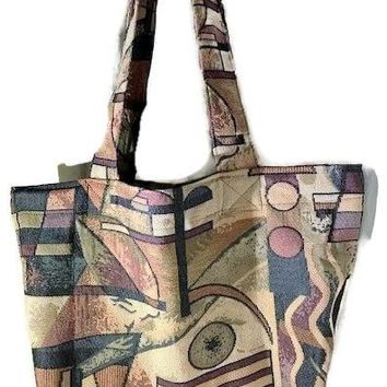 Grocery Bag, Market Tote, Heavy Duty Tote Bag, Upholstery Tapestry Fabric Bag