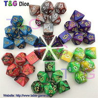 7pcs Promotion 2-color Dice Set with Nebula effect poker d&d d4 d6 d8 d10 d% d12 d20 Polyhedral Dice rpg game dice with bag