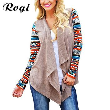 Rogi Women Long Cardigan Long Sleeve Knitted Poncho Sweater Coat Tribal Print Asymmetrical Cardigans Jacket Outwear Pull Femme