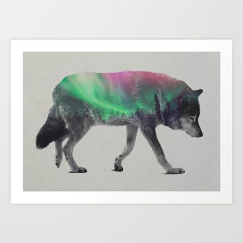 Wolf In The Aurora Borealis Art Print by Andreas Lie