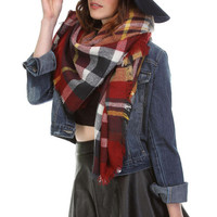 Oversized Plaid Blanket Scarf - Burgundy