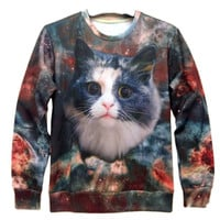 Space Kitty Universe Galaxy Graphic Print Crew Neck Sweatshirt Sweater   Gifts for Cat Lovers