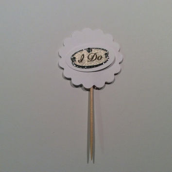"Glittered ""I Do""  Cupcake topper. Bridal Shower Cupcake topper, Wedding Cupcake topper, Partypicks, silver & white picks"