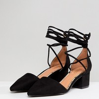 RAID Lucky Black Ankle Tie Mid Heeled Shoes at asos.com