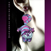 Gothic spooky earrings 'Cheshire Cat' alice in wonderland disney