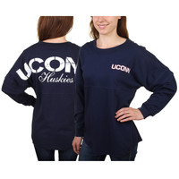 UConn Huskies Women's Navy Blue Pom Pom Jersey Oversized Long Sleeve T-Shirt