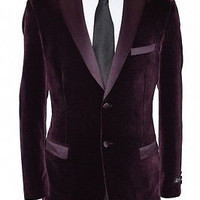Velvet Blazer Jacket Wine men leathery trim Lapel Slim Fit Underarm Elbow Patch