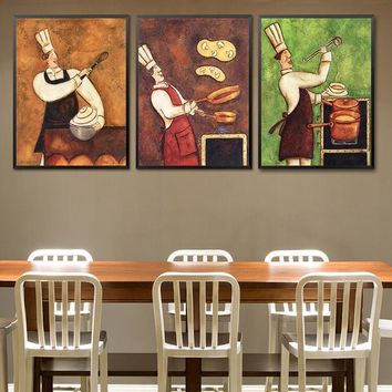 Restaurant Waiter Canvas Painting Coffee House Wall Art European Retro Kitchen Poster Print Creative Cook Dining Room Picture