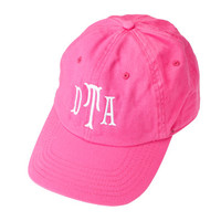 Hot Pink Twill Cotton Cap Hat - Monogrammed Personalized Baseball