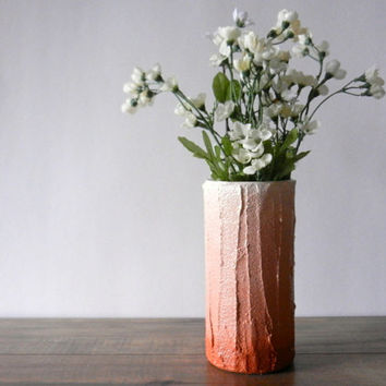 terracotta ombre Vase / orange brown home decor / handcrafted vase / clay colored flower vase / burnt umber vase