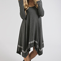 fall festive embroidered swing dress - charcoal