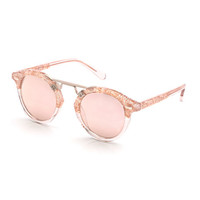 KREWE St. Louis II Two-Tone Round Acetate Sunglasses, Rose Gold