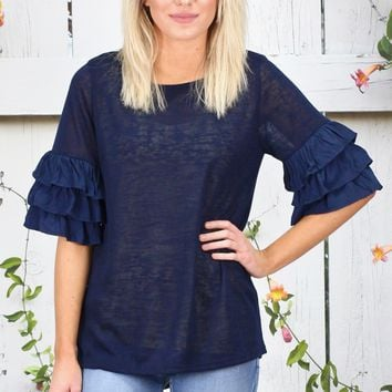 Layered Ruffle Short Sleeve Lightweight Knit {Navy}