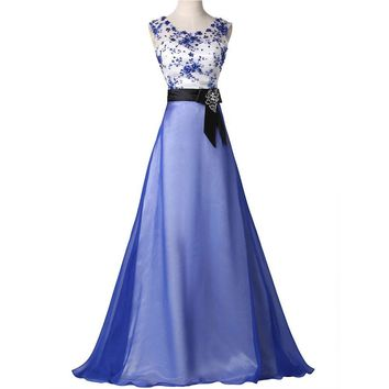 Blue Style Cap Sleeve Vintage Long Formal Prom dresses Red Carpet Women Clothing See Through Evening Party Gown