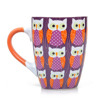 Orange & Purple Ceramic Owl Mug