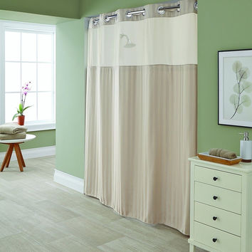 Hookless Park Avenue Stripe Taupe Shower Curtain with Snap-In PEVA Liner