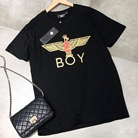 Boy London New fashion letter eagle print couple top t-shirt Black