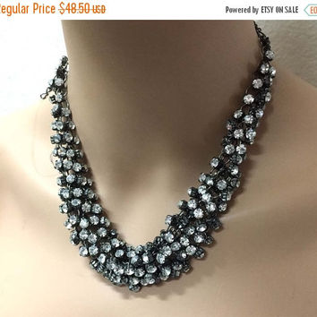 Wedding jewelry, Bridal necklace, vintage inspired Hematite crystal jewelry, Black crystal statement, bridesmaid jewelry , Ballroom jewelry