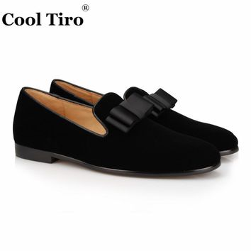 COOL TIRO Classic Black velvet Bow tie Slippers Moccasins handmade Men Party and Wedding Loafers