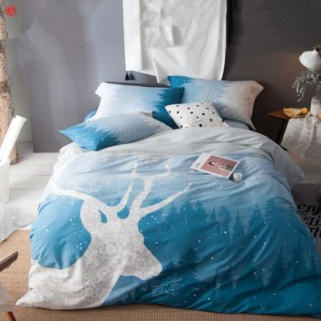 Home textile blue deer printed bedding set 100%cotton queen king size duvet cover bed sheet bedlinen bedspread home bedding