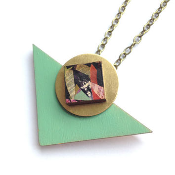 Mint & Patterned Triangle Geometric Wooden Necklace