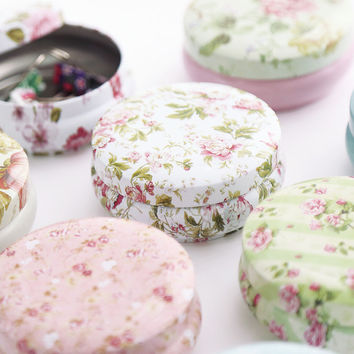 4pcs/lot Flower Fancy Tea Caddy Tea Box With Lid Portable Round Metal Tea Tins