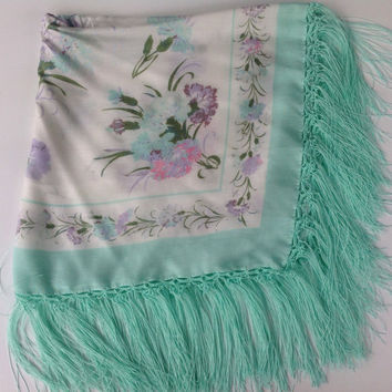 Russian scarf, Mint Green floral Shawl,  Hand crochet trim Fringe,  Old fashioned Platok, babushka shawl, Motherinlaw gift, Sister, Neice