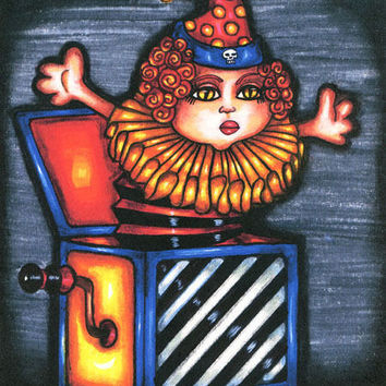 Evil clown demonic toy original art print drawings goth sci fi  horror artwork jack in the box dark fantasy goth