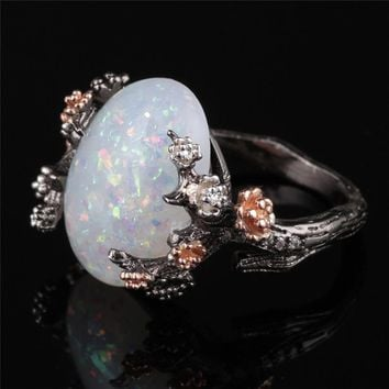 GS Fashion Gold Color Black Women Ring White Fire Opal Flower Rings For Women Wedding Engagement Ring anillos mujer Size 5 11 R4