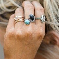 Marbled Stone Rings - Silver