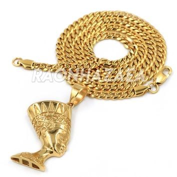 Hip Hop Iced Stainless Steel Gold Egyptian Nefertiti Side Pendant W Cuban Chain