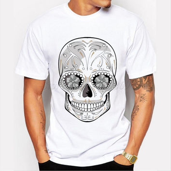 New fashion Edgar Allen Poe Sugar Skull design men's creative printed customized t-shirt male casual hipster tops funny tee