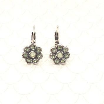 SWAROVSKI CRYSTAL EARRINGS, flower, petite, small, green, designer inspired, dangle, drop, lever back, 6mm, dksjewelrydesigns