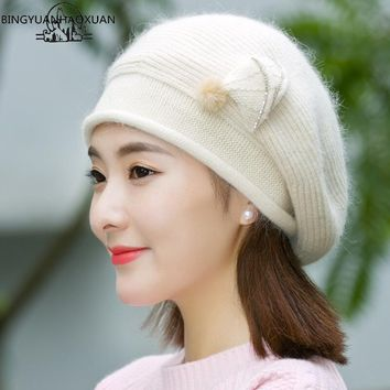 BINGYUANHAOXUAN Winter Beret Hat for Women Beret Knitted Fur Hat Rabbit Solid Colors Fashion Lady Cap