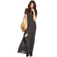 Black Polka Short Sleeve Maxi Dress with Slit