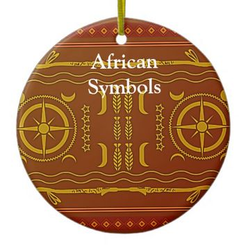 Golden Brown African Symbols Circle Ornament