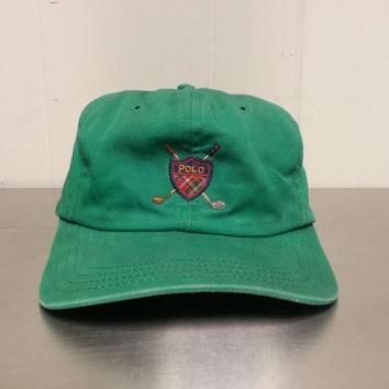 Rare Vintage Polo Ralph Lauren Cross Clubs Strap Back Hat Made In USA Polo Golf Club L