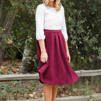 Gwen Burgundy Knit Midi Skirt