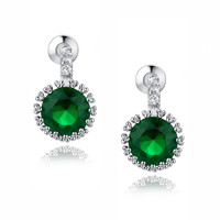 Halo Green and Clear Round Cubic Zirconia Earrings