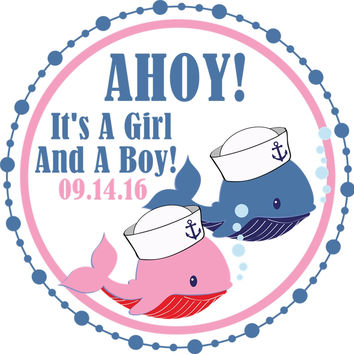 """Twins Whale Baby Shower Stickers Or Favor Tags - 2.5"""" Round"""