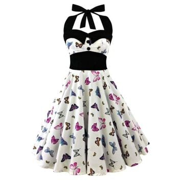 S-5XL Large Size Printed Dress Women Punk Strapless Halter Party Dresses Bowknot Self Gothic Dress Clothing