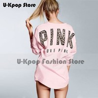 Sports Wear Leopard pink print Letter Hoodies Shirt Women Vs Love Pink Hoodie Long Sleeve