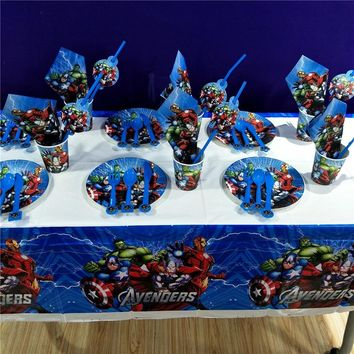 82pcs Avengers Birthday Cartoon Party Decoration Tableware Cup Plates Tablecloth Straw Napkin Kids Party Decoration For Baby