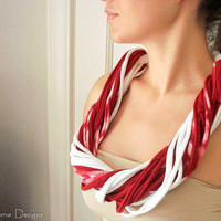 PEPPERMINT STICK cotton chunky twisted scarf by NeemaDesigns413