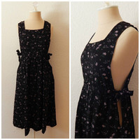 Vintage 90s Black Purple Floral Pinafore Overall Romper Dress Small