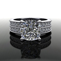 Forever Brilliant Moissanite and Diamond Engagement Ring 3.50 CTW